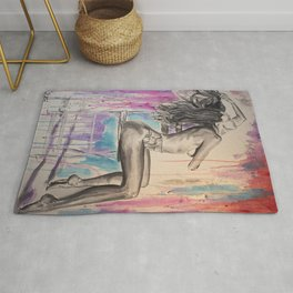 Woman Figure Painting sensual charcoal Rug