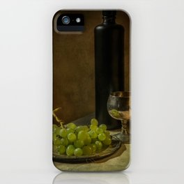 Still life with wine and green grapes iPhone Case