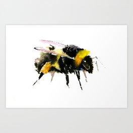 Bumblebee, bee art, bee design, minimalist bee honey Art Print