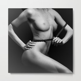 Nude Woman with great body in black and white Metal Print