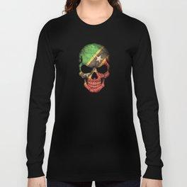 Dark Skull with Flag of Saint Kitts Long Sleeve T-shirt