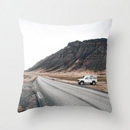 Hitting an icelandic Road Throw Pillow