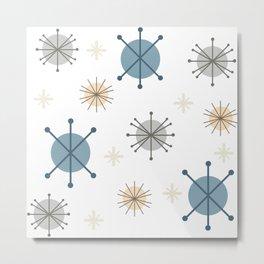 Mid Century Modern Starburst Snowflakes Metal Print