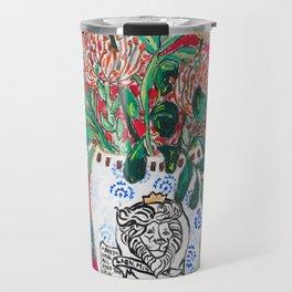 Rex Manning Day Red Floral Still Life with Lion Vase Travel Mug