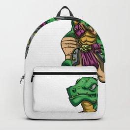 Lizard gladiator cartoon - dinosaur warrior illustration - tyrannosaurus character Backpack