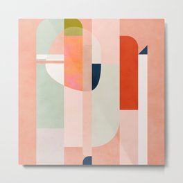 shapes modern mid-century peach pink coral mint Metal Print