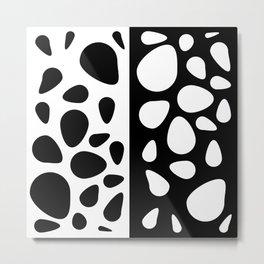 Black and White Teardrops Design Metal Print