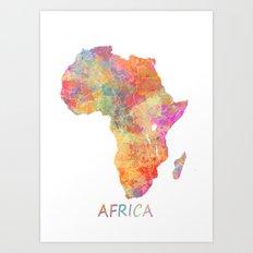 Africa map 2 Art Print