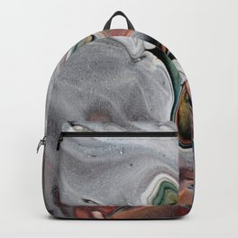 Navy Flow II - Blue Multicolor Fluid Pour Painting Backpack
