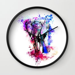 Colorful elephant drawing Wall Clock