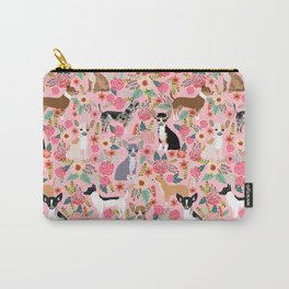 Chihuahua floral dog breed cute pet gifts for chiwawa lovers chihuahuas owners Carry-All Pouch