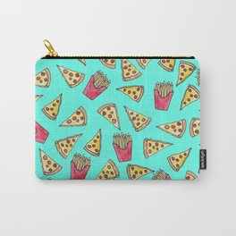 Pepperoni Pizza French Fries Foodie Watercolor Pattern Carry-All Pouch