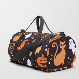 Halloween party illustrations orange, black Duffle Bag