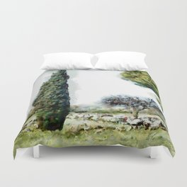 Paestum: archaeological remains among the trees Duvet Cover