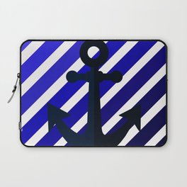 Anchor on blue lines Laptop Sleeve