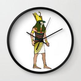 Ancient Egyptian Painting - Horus, the Falcon God Wall Clock