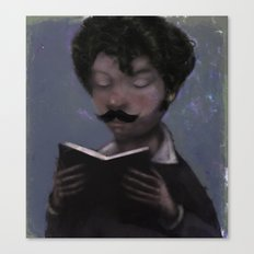 Reader with Mustache Canvas Print