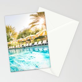 Poolside Parker Palm Springs Hot Day Blue and Yellow  Stationery Cards