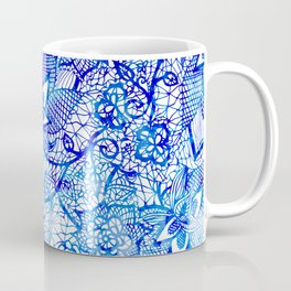 Modern china blue ombre watercolor floral lace hand drawn illustration Coffee Mug