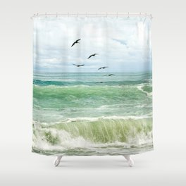 Birds flying above ocean Shower Curtain