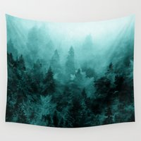 fractal Wall Tapestries featuring Fractal Forest by Klara Acel