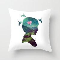 voyage Throw Pillows featuring Voyage by Amandine Léveillé-Quintric