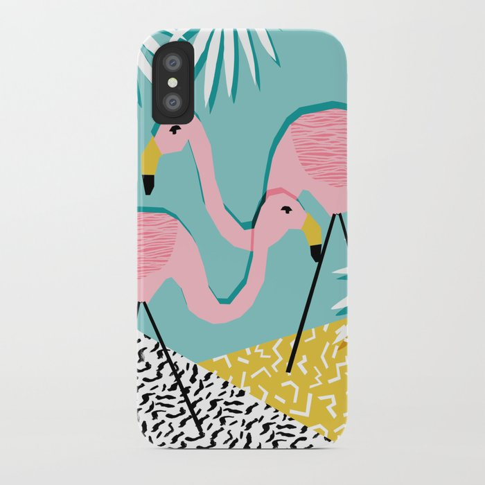 Bro - wacka design memphis throwback minimal retro hipster 1980s 80s neon pop art flamingo lawn iPhone Case