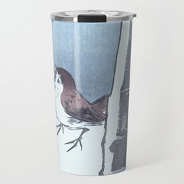 Sparrow and the Bamboo Tree - Vintage Japanese Woodblock Print Art Travel Mug