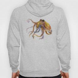 Octopus, orange red gold underwater scene octopus lover design, beach Hoody