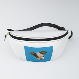 Cute Puppy Face Drawing in Blue Fanny Pack