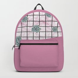 Succulents geometric composition - Antique Pink Backpack