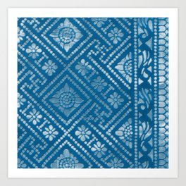 Blue Burnout One Art Print