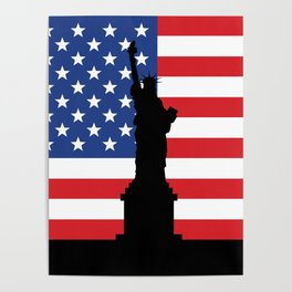 United states of America flag and Statue of Liberty in New York Poster