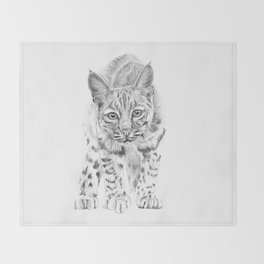 On the Prowl :: A Young Bobcat Throw Blanket
