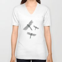 dragonfly V-neck T-shirts featuring Dragonfly by Daydreamer