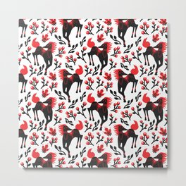 The Folk Art Horses Vector Seamless Pattern Metal Print