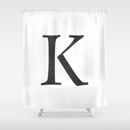 Letter K Initial Monogram Black And White Shower Curtain