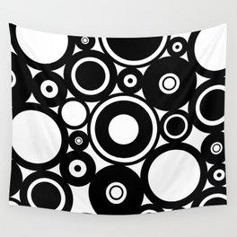 Retro Black White Circles Pop Art Wall Tapestry