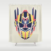 optimus prime Shower Curtains featuring Prime by Fimbis
