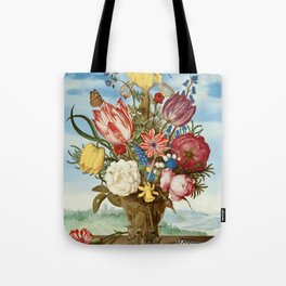 "Ambrosius Bosschaert ""Bouquet of Flowers on a Ledge"" Tote Bag"