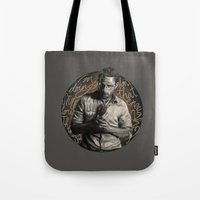 rick grimes Tote Bags featuring Grimes by Ariane Lafreniere