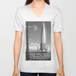 Travel The Universe Limited Edition mono print Unisex V-Neck