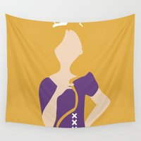 rapunzel Wall Tapestries featuring Rapunzel - Tangled by Adrian Mentus