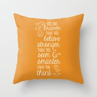 pooh Throw Pillows featuring Winnie the Pooh by Nikita Gill