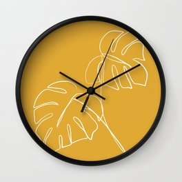 Monstera minimal - yellow Wall Clock