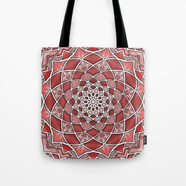 12-Fold Mandala Flower in Red Tote Bag