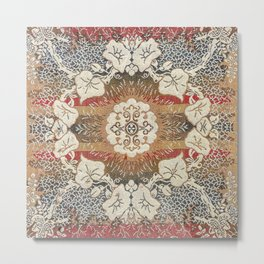 Botanical Embroidery I // Flowery Colorful Red Blue Green Yellow Tan Ornate Accent Rug Pattern Metal Print