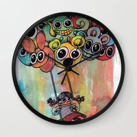 baloon Wall Clocks featuring baloon by Hugo Lucas