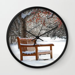 Winter Bench and Crabapple Tree Wall Clock