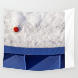 Red Dot In White Snow On Blue Container Wall Tapestry